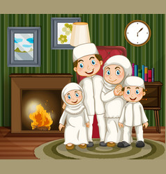Muslim family by the fireplace in the livingroom vector