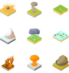 Natural occurrence icons set cartoon style vector