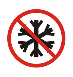 no snowflake no frozen red prohibition sign vector image