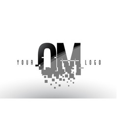 om o m pixel letter logo with digital shattered vector image