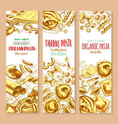 pasta and italian macaroni banners set vector image