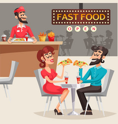people in fast food restaurant vector image