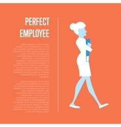 Perfect employee banner with business woman vector image
