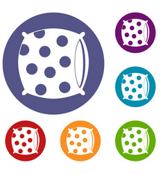 pillow with dots icons set vector image