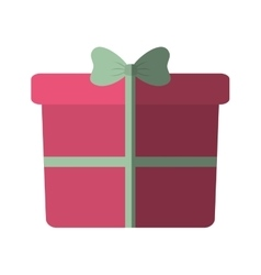 Pink big gift box with bow color shadow vector