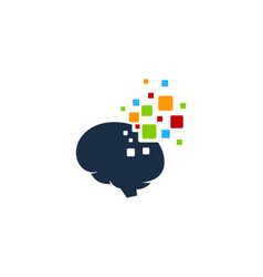 pixel brain logo icon design vector image