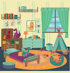 Playing room for boy with dragon toys cozy kids vector