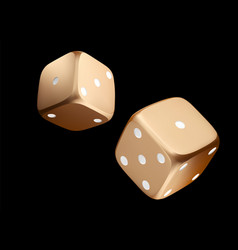 Pocer dice view of golden white dice casino gold vector