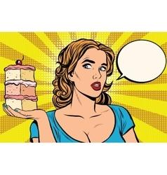 Pop art girl diet cake vector