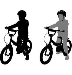 Preschooler bicyclist silhouette vector