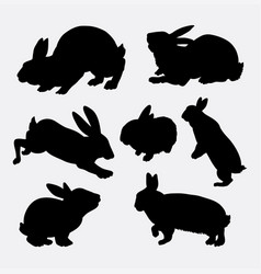 Rabbit animal action silhouette vector