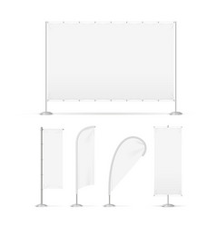 realistic 3d detailed white advertising flags vector image