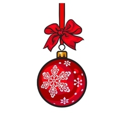 Red Christmas balls with ribbon and bows vector