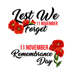 Remembrance day 11 november poppy icons vector