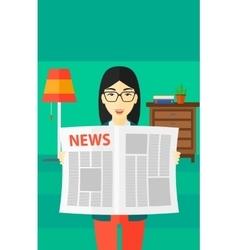 Reporter reading newspaper vector