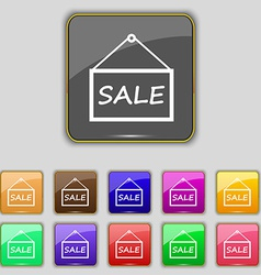 Sale tag icon sign set with eleven colored buttons vector