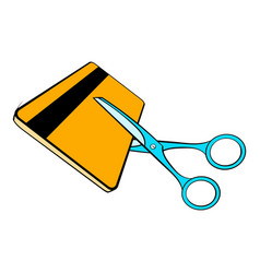 scissors cut credit card icon cartoon vector image