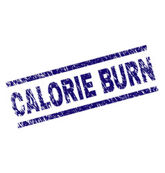 Scratched textured calorie burn stamp seal vector