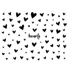 set black hand drawn hearts vector image