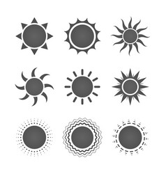 set nine different gray sun icons on white vector image