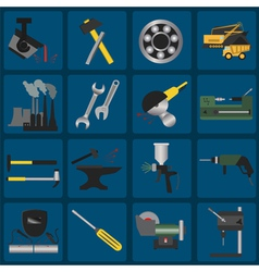Set of metal working tools icons vector image