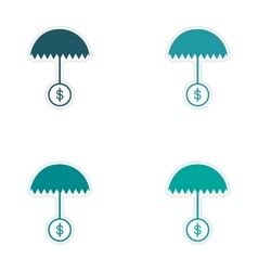 Set of stylish sticker on paper umbrella and coins vector image