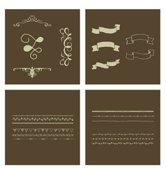 Set of vintage frames on a white background vector