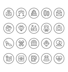 set round line icons wedding vector image