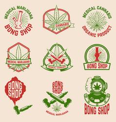 Set vintage emblems with medical marijuana vector