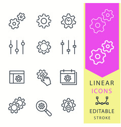 Settings - line icon set editable stroke vector