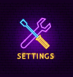 settings neon label vector image