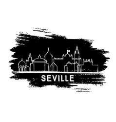 seville spain city skyline silhouette hand drawn vector image