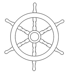 Ship wheel outline drawings vector