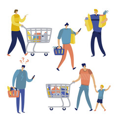 shopping list man in supermarket shop for family vector image