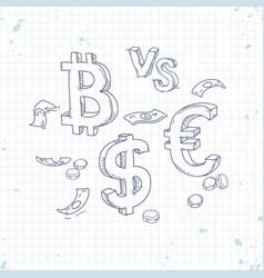 sign bitcoin dollar against euro vector image