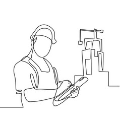 Standing builder man holding tablet vector