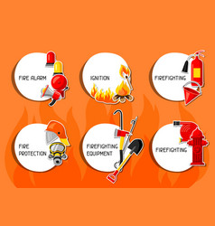 stickers with firefighting items fire protection vector image