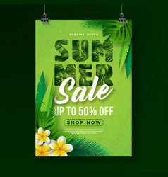 summer sale poster design template with flower and vector image