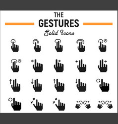 touch gesture solid icon set touchscreen and hand vector image