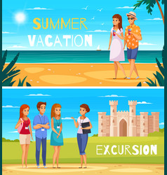 travel agency cartoon banners vector image