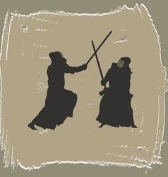 Two men engage in martial arts vector