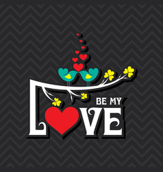 Valentine card with cute birds vector