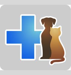 Veterinary cross on grey background vector