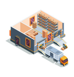 warehouse isometric big storage house machines vector image