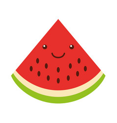 Watermelon tropical and exotic fruit kawaii vector