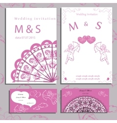 Wedding of set invitation and cards vector image