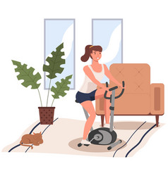 woman doing cycling exercise vector image