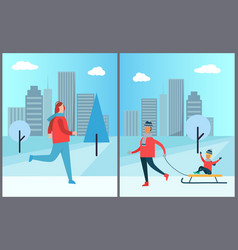 woman jogging in winter park father carrying child vector image