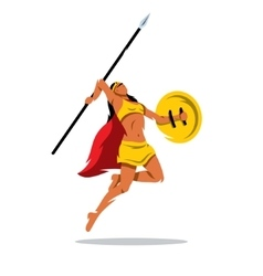Woman warrior with a spear cartoon vector