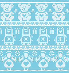 Xmas pattern with penguin angel teddy bear in blue vector